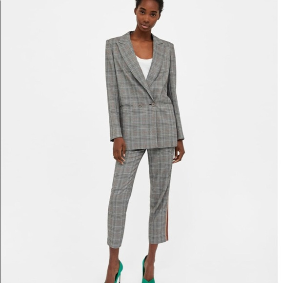 ZARA LAPEL COLLAR BELTED OVERSIZE DOUBLE BREASTED LONG CHECK BLAZER FROCK JACKET